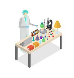 scientist person on laboratory concept experiment vector image
