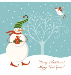 snowman with present vector image vector image