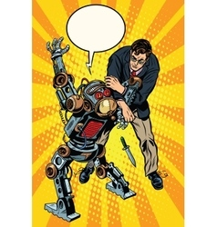 The fight of a man and armed robot vector image
