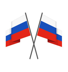 two crossed russian flag vector image vector image