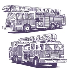 Firetruck drawings vector image vector image