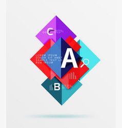 glossy squares with text abstract geometric vector image vector image