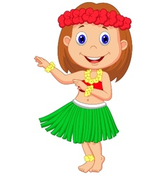 Little Hula Girl cartoon vector image