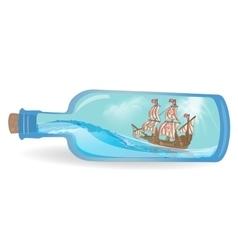 Flat design ship in a bottle vector image