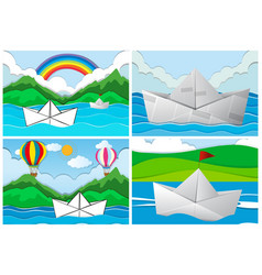 four scenes with paper boats at sea vector image vector image