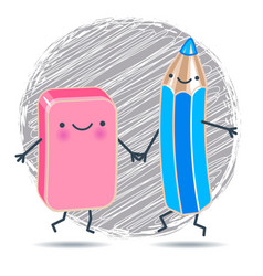 funny pencil and eraser against the background of vector image