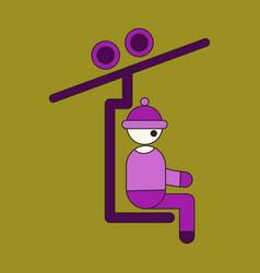 Icon in flat design man on ski lift vector