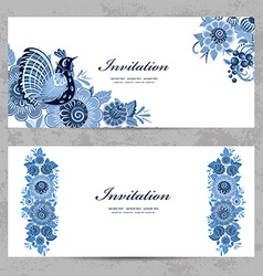 invitation cards with Gzhel ornament for your vector image