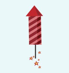 red fireworks rocket flying vector image