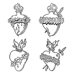 Set heart of blessed virgin mary tattoo vector