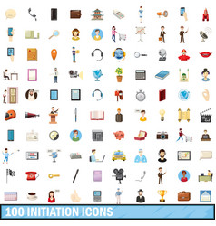 100 initiation icons set cartoon style vector