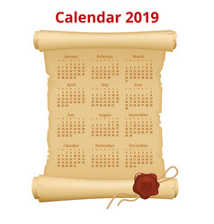 2019 calendar on scroll print template on vector image