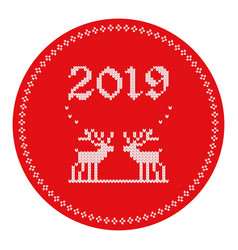 2019 knitted logo reindeers vector