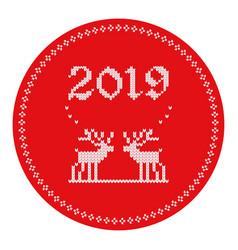 2019 knitted logo reindeers vector image