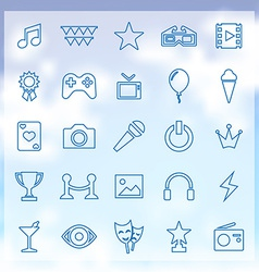 25 entertainment icons vector image