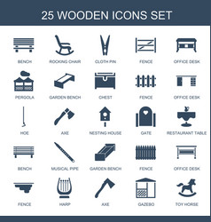 25 wooden icons vector image