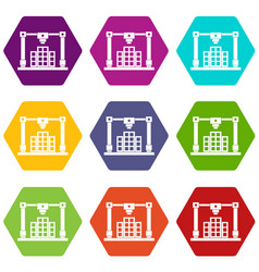 3d printer printing layout of building icon set vector image