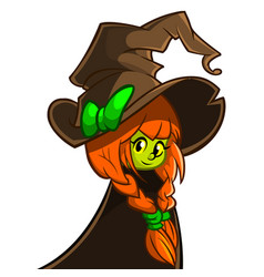 A cute witch in big hat vector