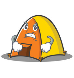 Angry tent character cartoon style vector