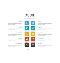 Audit infographic 10 option conceptreview vector
