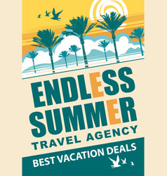 Banner for travel agency with words endless summer vector