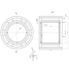 Bearing sketch engineering drawing vector