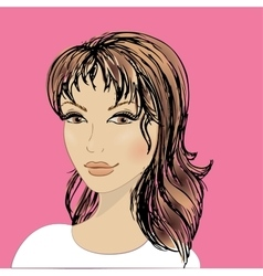 beautiful female face vector image