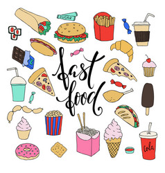 big set of hand drawn doodle fast food with vector image