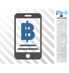 Bitcoin mobile payment flat icon with bonus vector