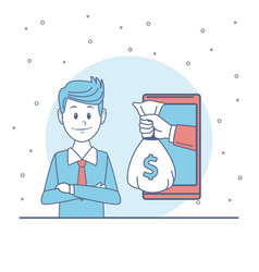businessman using online money transfer vector image