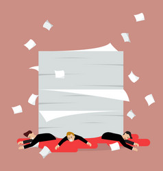 Businessmen under a lot of documents vector
