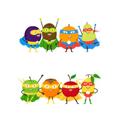 Cartoon vegetables superhero characters row icon vector