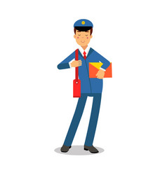 Cheerful postman in blue uniform with red bag vector