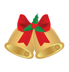christmas bells with red bow and holly vector image