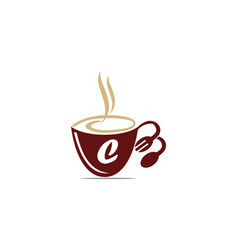 Coffee cup restaurant letter c vector