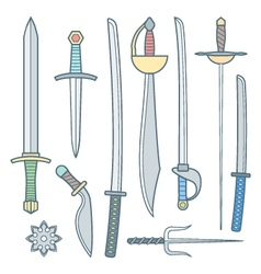 cold weapons colored outline set vector image