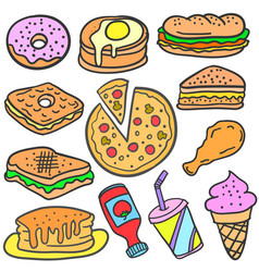Collection of food object various doodles vector