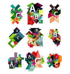collection paper geometric infographics a b c vector image