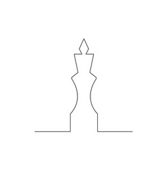 Continuous one line chess piece or chessman king vector