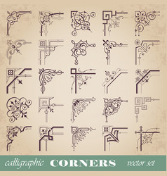 Decorative calligraphic corners in vintage style vector