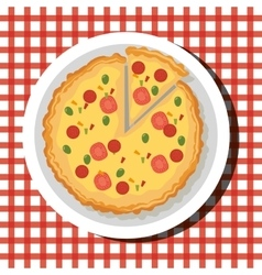delicious hot pizza embelm vector image