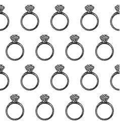 dotwork diamond ring seamless pattern vector image