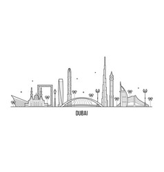 dubai skyline united arab emirates uae city vector image