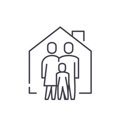 family comfort line icon concept family comfort vector image
