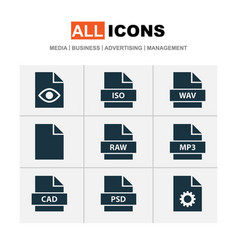 file icons set with iso system hidden and other vector image