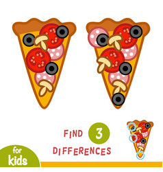 Find differences education game pizza vector