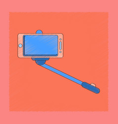 Flat shading style icon smartphone selfie stick vector