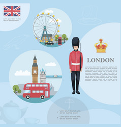 flat travel to london template vector image