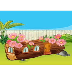 Flowering wood house vector image