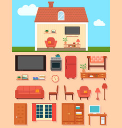 Furniture set with home room interior vector